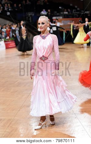 Female ballroom dancer during the competition