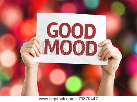 Good Mood card with colorful background with defocused lights