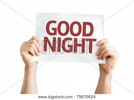 Good Night card isolated on white background