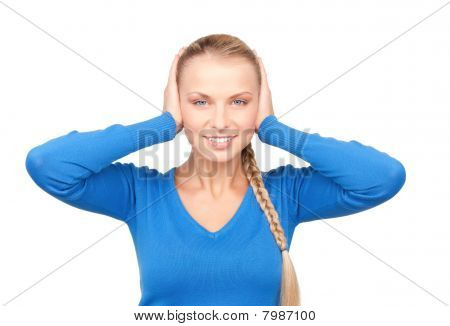 Smiling Woman With Hands Over Ears
