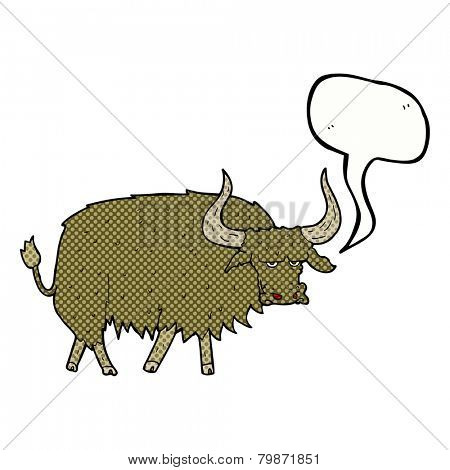 cartoon annoyed hairy cow with speech bubble