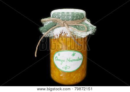 Home Made Orange Marmalade On Black Background