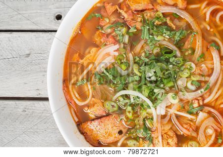 Vegetarian central Vietnamese hot and spicy soup Bun Bo Hue chay