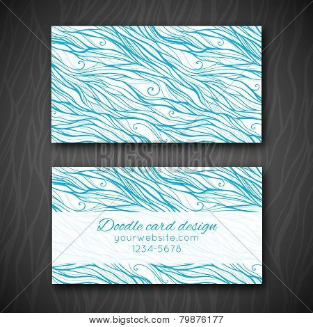 Abstract doodle business card template