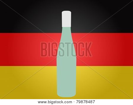 German Flag With A Bottle Of Wine