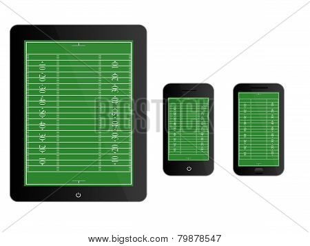 Mobile Devices With American Football Field Black