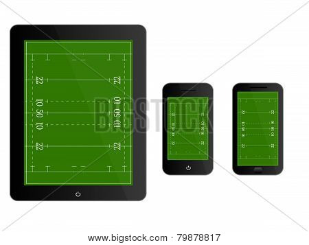 Mobile Devices With Rugby Field Black