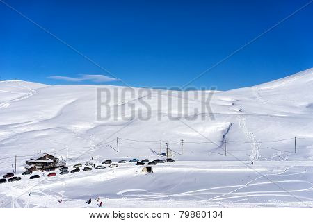 Aerial View Of Skiers At Ski Resort Falakro, In Greece.