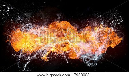 Beautiful stylish fire flames with water splash, close-up.