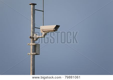 Security camera on a mast