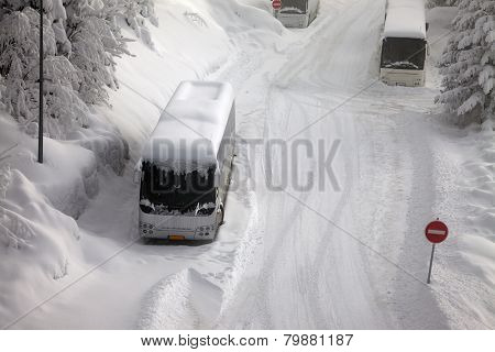 Main road after heavy snowfall