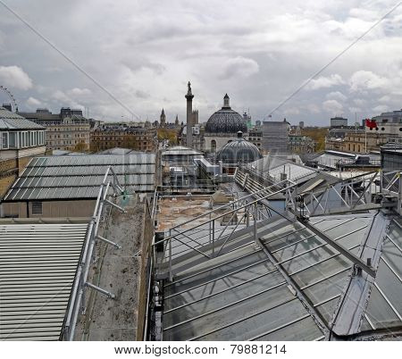 Nelson's London - Vertical Rooftop Cityscape Panorama.