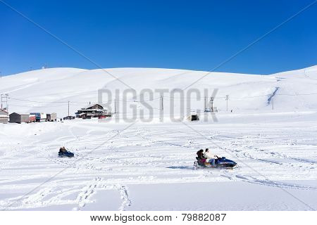 Skier skiing on the mountain of Falakro Greece. The ski resort of Falakro Mountain is located in th