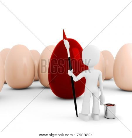 3d man painting some easter eggs, isolated on white