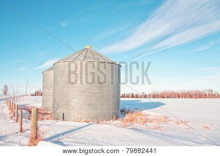 Grain Silos in the Snow