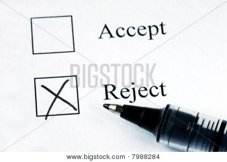Select the Reject option with a pen