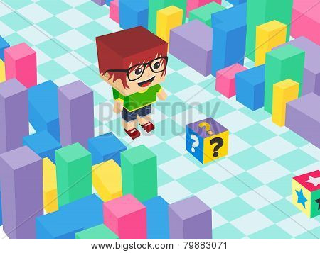 block cartoon video game theme