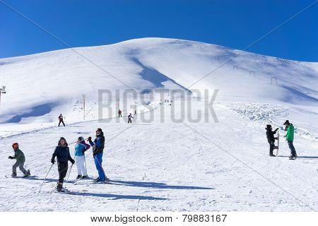 Visitors Enjoy The Snow Skiing On The Mountain Of Falakro, Greece. The Ski Resort Of Falakro Mountai