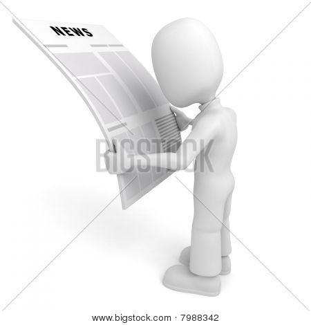 3D Mann Lesen der Nachrichten
