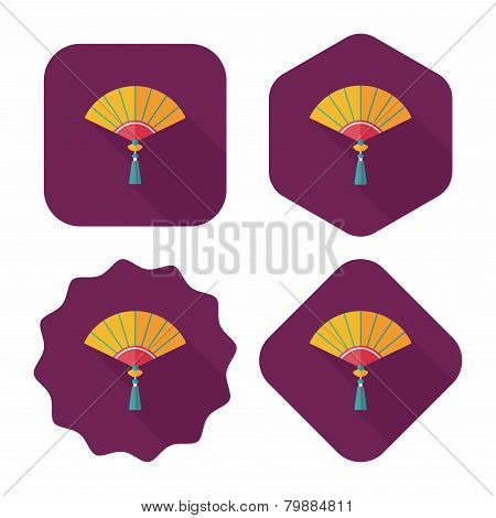 Chinese New Year Flat Icon With Long Shadow,eps10, Chinese Folding Fan Means