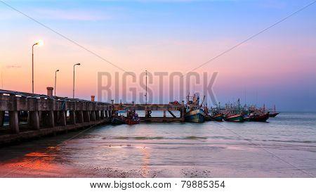 Pier Boat Sunset Thailand