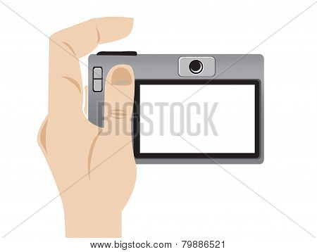 Vector Illustration Of A Hand Holding A Camera.