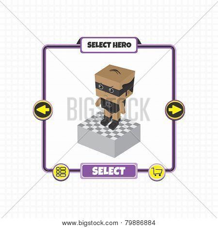 block cartoon hero game asset