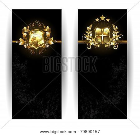 Two Banners With Shields