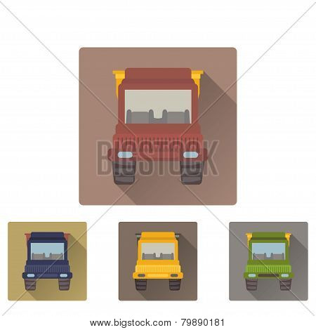 Tipper truck flat icon with long shadow