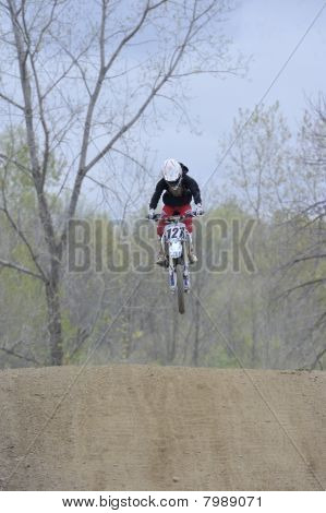 Motocross Racer Flying Through The Air