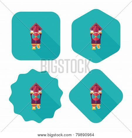 Chinese New Year Flat Icon With Long Shadow,eps10, The Little Boy To Stick Couplets