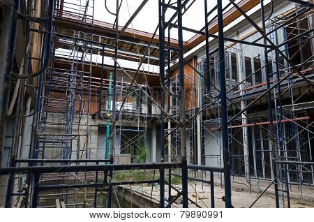 Suphanburi, Thailand - December 3, 2014: Scaffolding In Construction Site