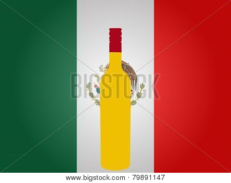 Mexican Flag With A Bottle Of Tequila