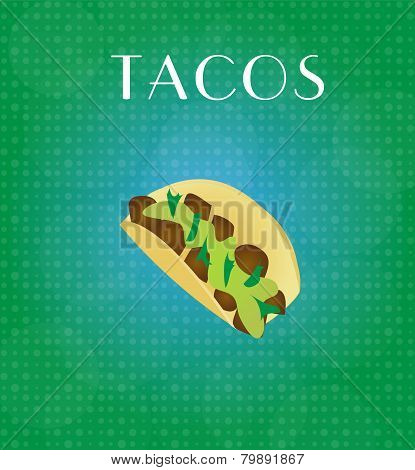 Food Menu Tacos With Green & Blue Background