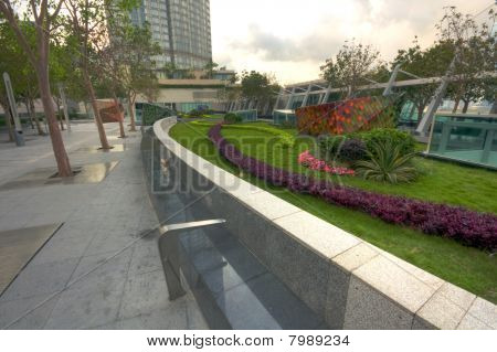 Park in a modern building in city