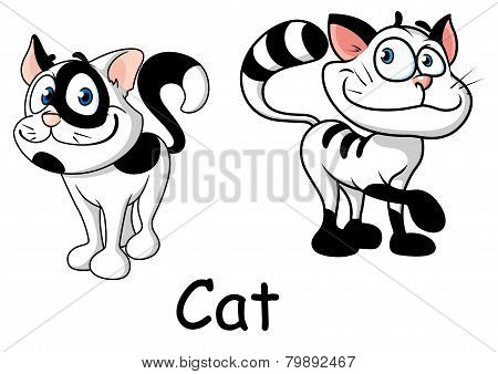 Cartoon white and black cats