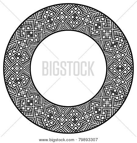 Wide round frame with ethnic pattern
