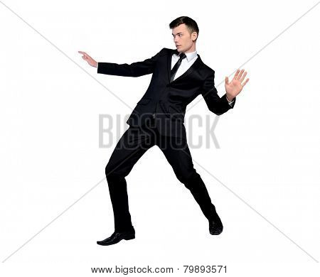 Isolated business man surfing position