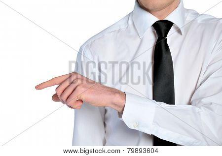 Man hand grab nothing on white