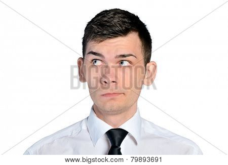 Isolated business man curious face