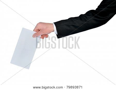 Isolated man hand holding mail