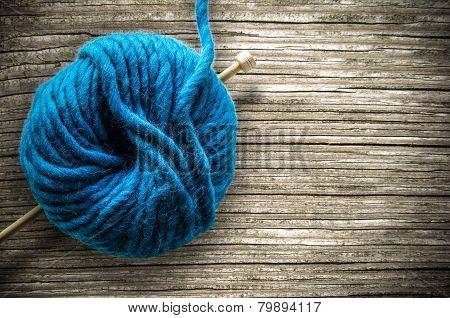 Retro Wool And Knitting Needle