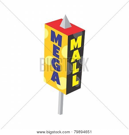 mega mall cartoon game isometric sign