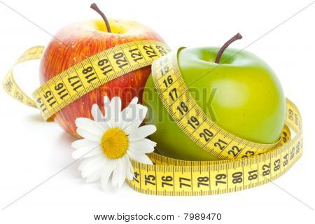Apples, Flower And Measuring Tape.