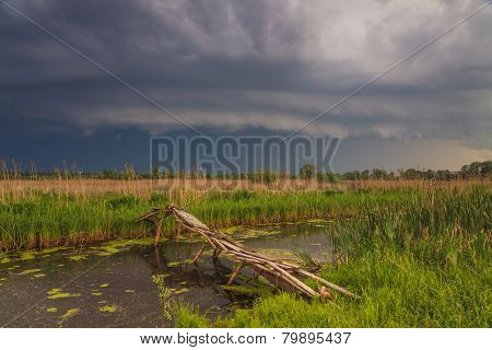 Terrific Storm Cyclone Over The Beautiful Countryside River