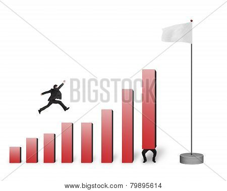 Businessman Jumping Over Bar Charts To Flag Isolated On White