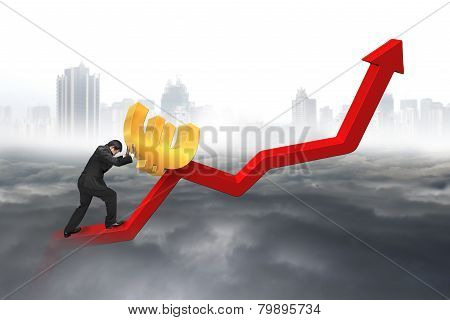 Businessman Pushing Euro At Trend Chart Starting Point With Cityscape