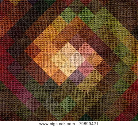 Abstract mosaic burlap jute canvas textured background
