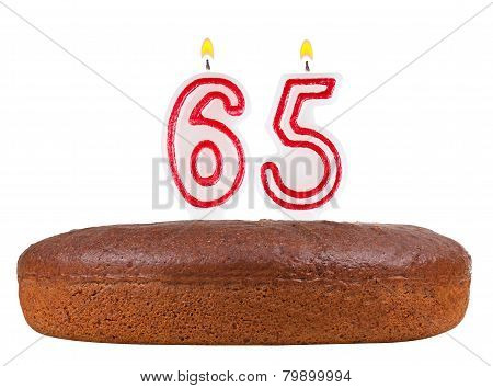 Birthday Cake Candles Number 65 Isolated