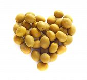 stock photo of olive shaped  - Olives in heart shape isolated on white background - JPG